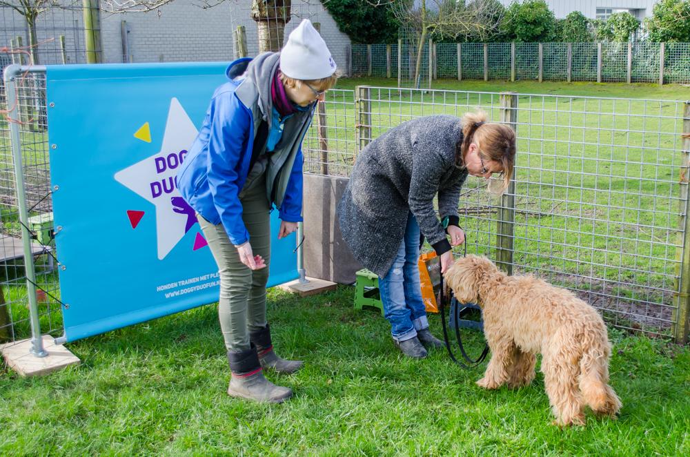 Renate Bartels van Doggy Duo Fun legt een spel uit aan een van de baasjes.